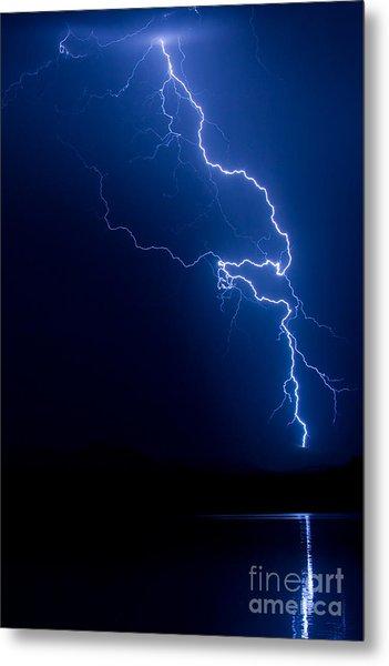 Lake Lightning Strike Metal Print