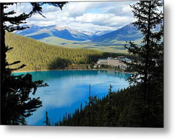 Lake Louise Chalet Metal Print