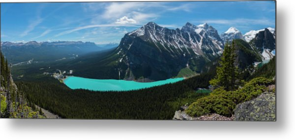 Metal Print featuring the photograph Lake Louise From Little Beehive Overlook by Owen Weber