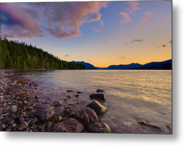 Lake Mcdonald At Sunset Horizontal Metal Print