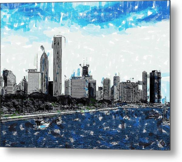 Lake Michigan And The Chicago Skyline Metal Print