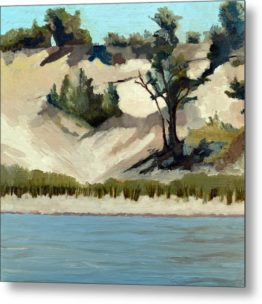 Lake Michigan Dune With Trees And Beach Grass Metal Print