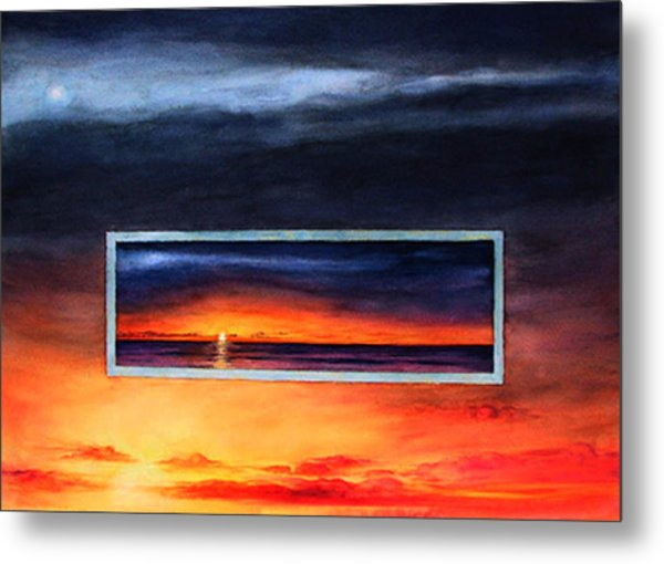 Lake Michigan Sunrise Metal Print by Nancy  Ethiel
