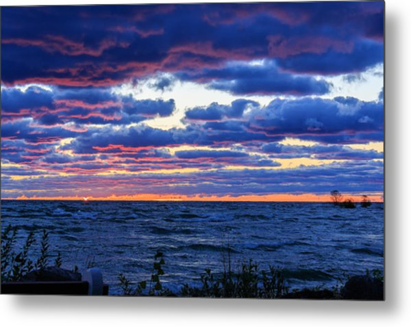 Lake Michigan Windy Sunrise Metal Print