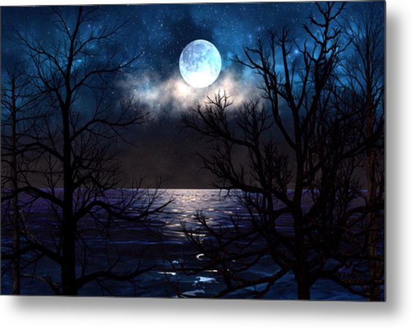 Lake Midnight Metal Print