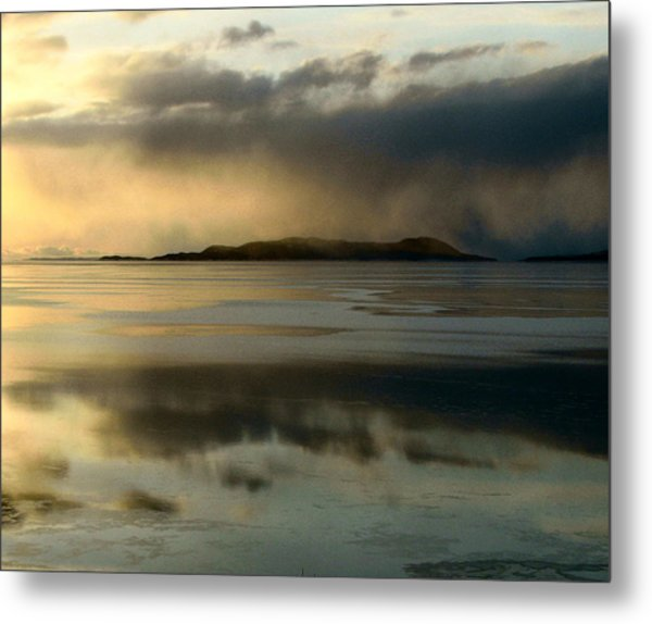 Lake Mist Over Pic Island Metal Print by Laura Wergin Comeau