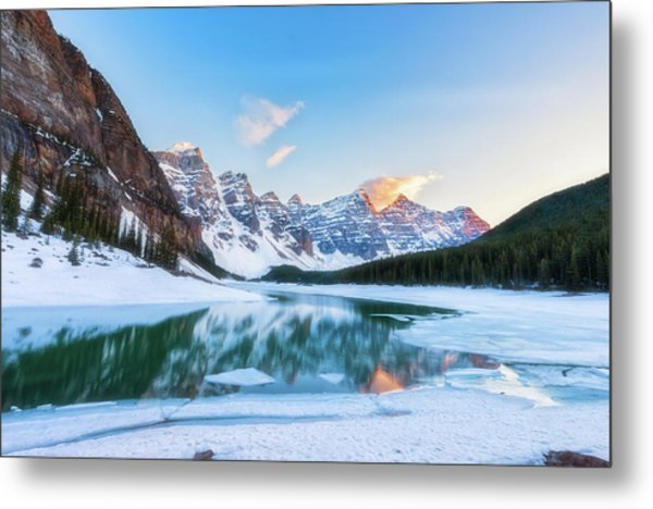 Lake Moraine Sunset Metal Print