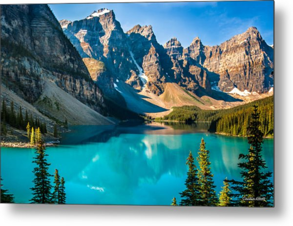 Lake Moraine Valley Of Ten Peaks Metal Print