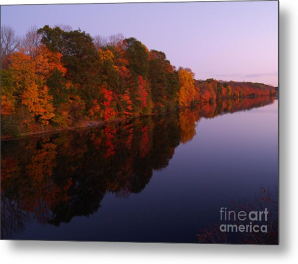 Lake Nockamixon Twilight Reflection In Autumn Metal Print
