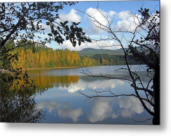 Lake Padden Fall Reflection Metal Print by Matthew Adair