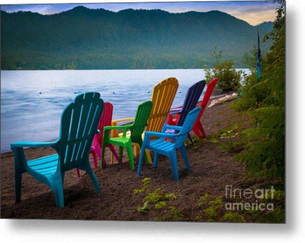 Lake Quinault Chairs Metal Print