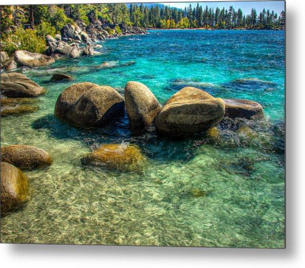 Lake Tahoe Beach And Granite Boulders Metal Print