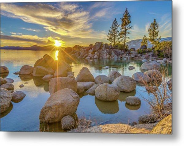 Lake Tahoe Spring Starburst Metal Print