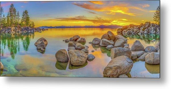 Lake Tahoe Spring Sunset Panoramic Metal Print