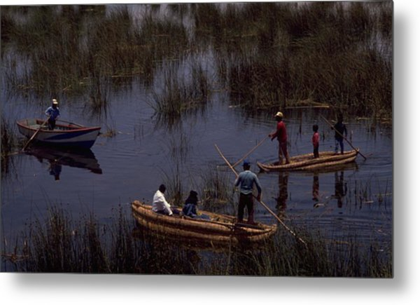 Lake Titicaca Reed Boats Metal Print