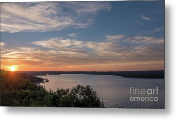Lake Travis During Sunset With Clouds In The Sky Metal Print
