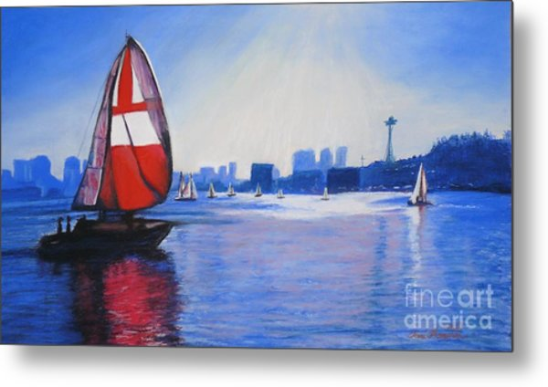 Lake Union And The Red Sail Metal Print