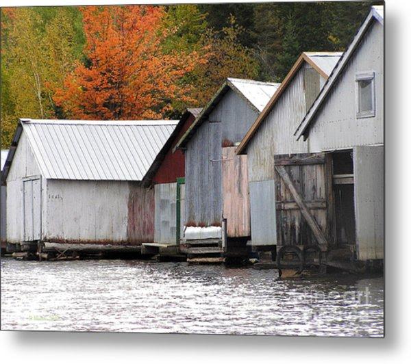 Lake Vermillion Boathouses Metal Print