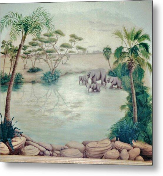Lake With Oasis And Palm Trees Metal Print