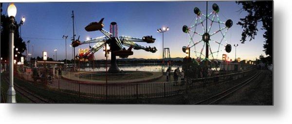 Lakeside Amusement Park At Night Panorama Photo Metal Print by Jeff Schomay