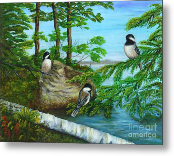 Lakeside Chickadees Metal Print