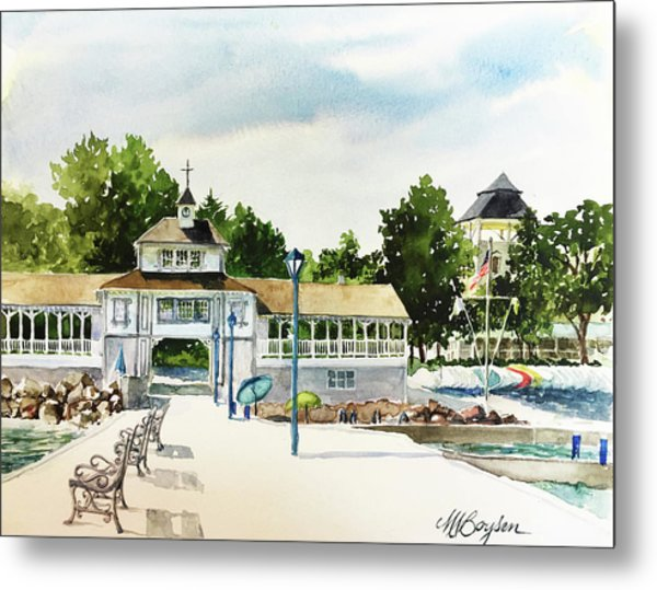 Lakeside Dock And Pavilion Metal Print