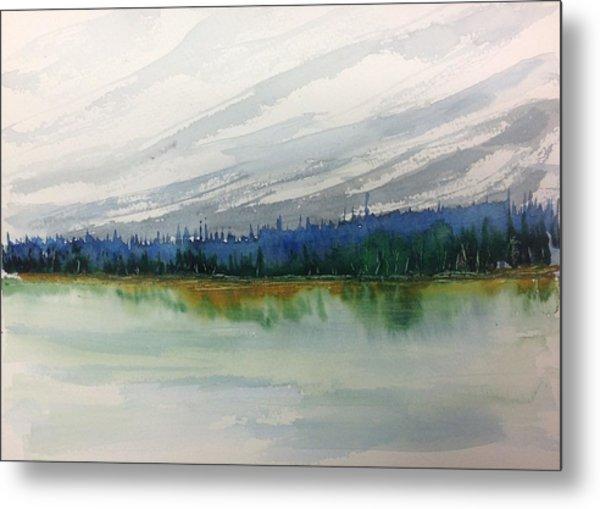Lakeside - Mountain Foothill  - Banff Metal Print
