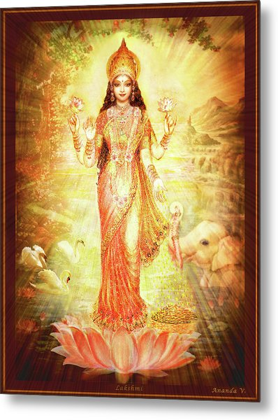 Lakshmi Goddess Of Fortune Metal Print by Ananda Vdovic