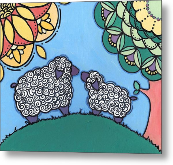 Lamb And Mama Sheep Metal Print