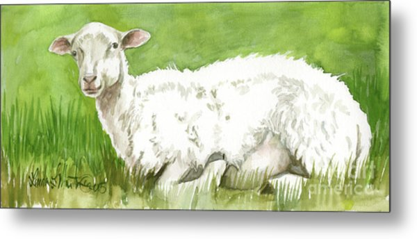 Metal Print featuring the painting Lamb In Spring by Linda L Martin
