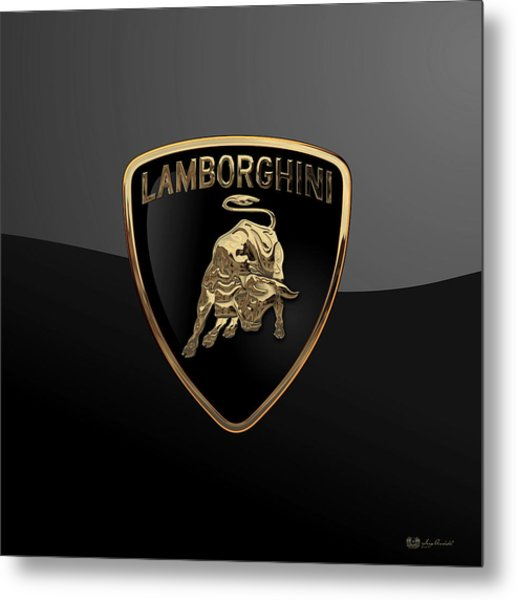 Lamborghini - 3d Badge On Black Metal Print