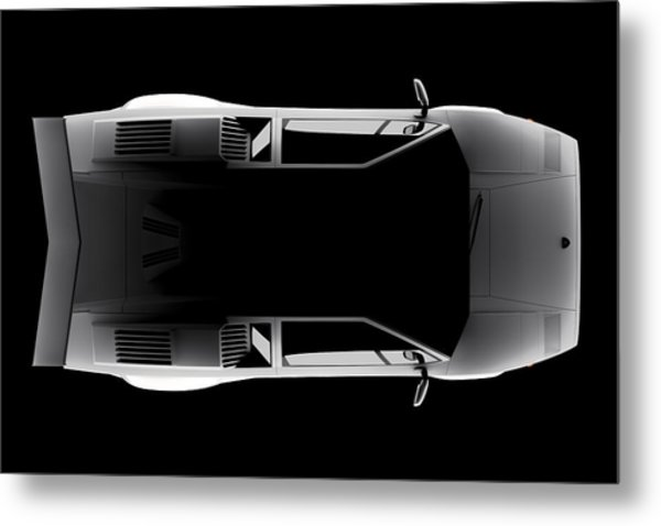 Lamborghini Countach 5000 Qv 25th Anniversary - Top View Metal Print