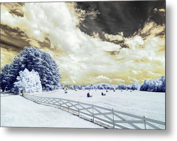Lancaster Farm In Ir Metal Print