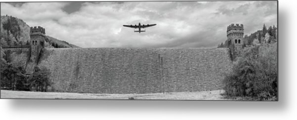 Metal Print featuring the photograph Lancaster Over The Derwent Dam Bw Version by Gary Eason