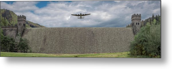 Metal Print featuring the photograph Lancaster Over The Derwent Dam by Gary Eason