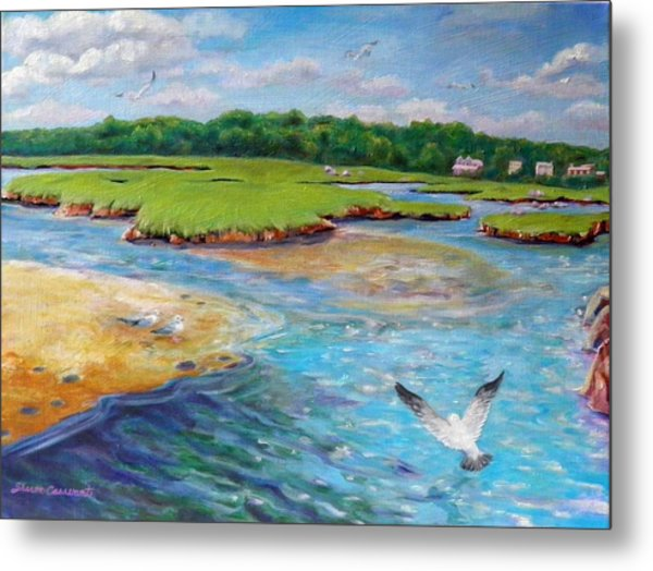 Landing At Jones River Salt Marsh Metal Print