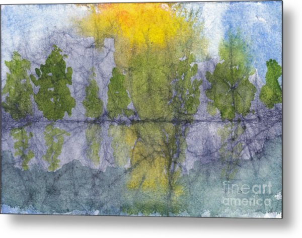 Landscape Reflection Abstraction On Masa Paper Metal Print