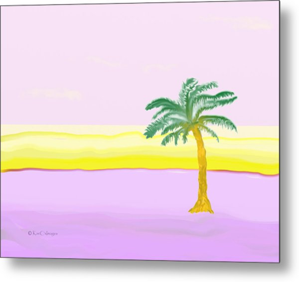 Landscape In Pink And Yellow Metal Print