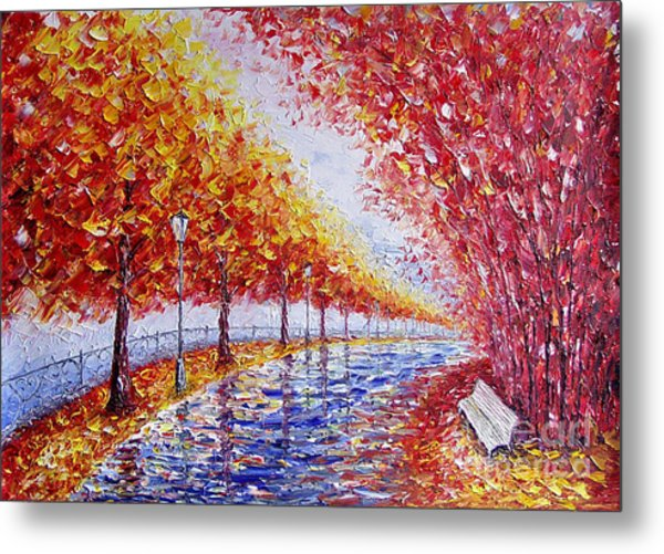 Landscape Painting Gold Alley Metal Print by Valery Rybakow