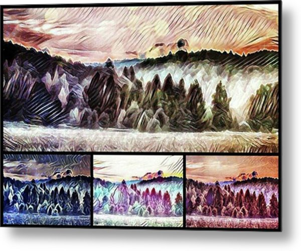 #landscape #sunset #psychedelic Metal Print by Michal Dunaj