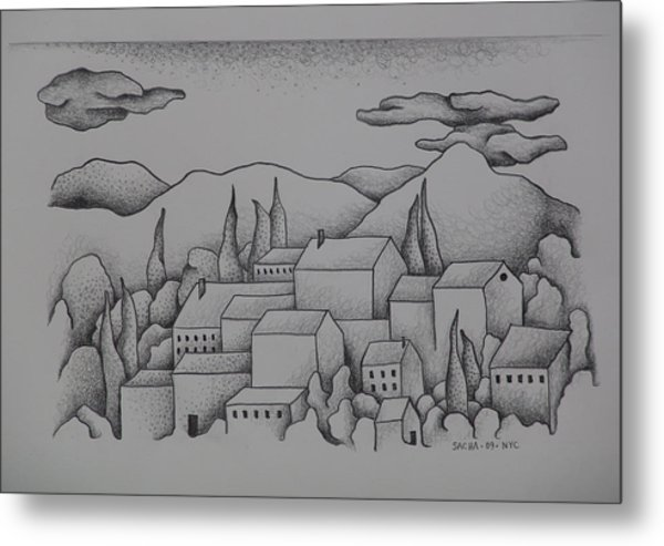 Landscape The Town II  2009 Metal Print by S A C H A -  Circulism Technique