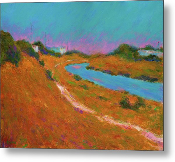 Canal Path, Early Autumn Metal Print