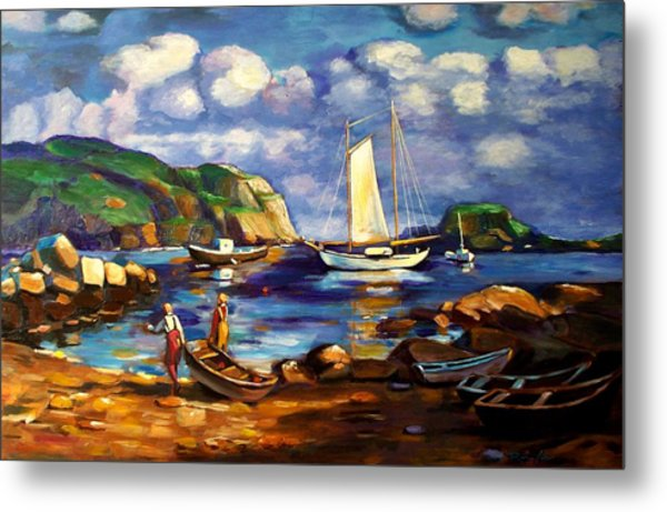 Landscape With Boats Metal Print