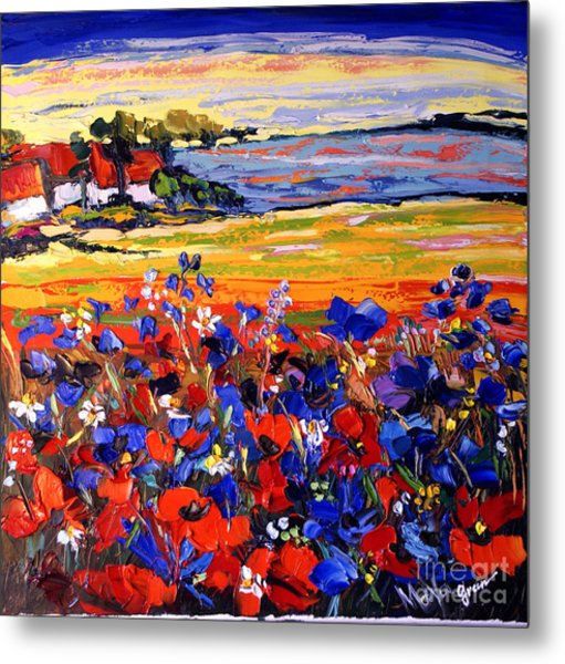 Landscape With Poppies Metal Print by Maya Green
