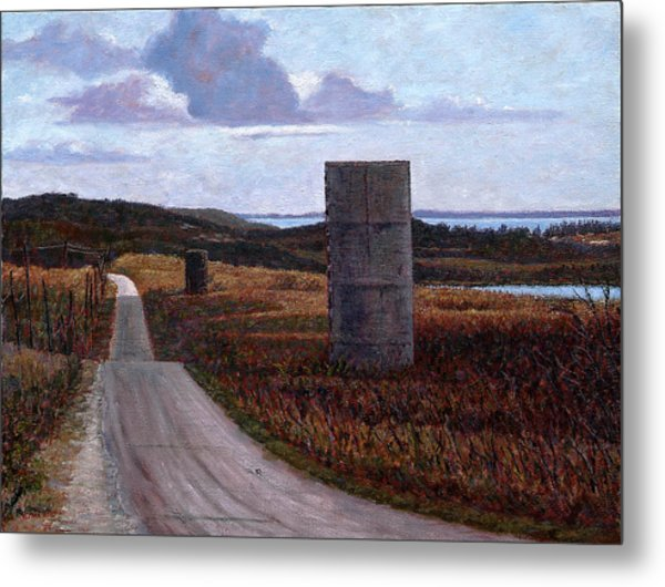 Landscape With Silos Metal Print