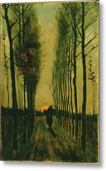 Metal Print featuring the painting Lane Of Poplars At Sunset by Van Gogh