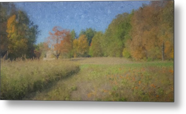 Langwater Farm With Pumpkins And Chateau Metal Print
