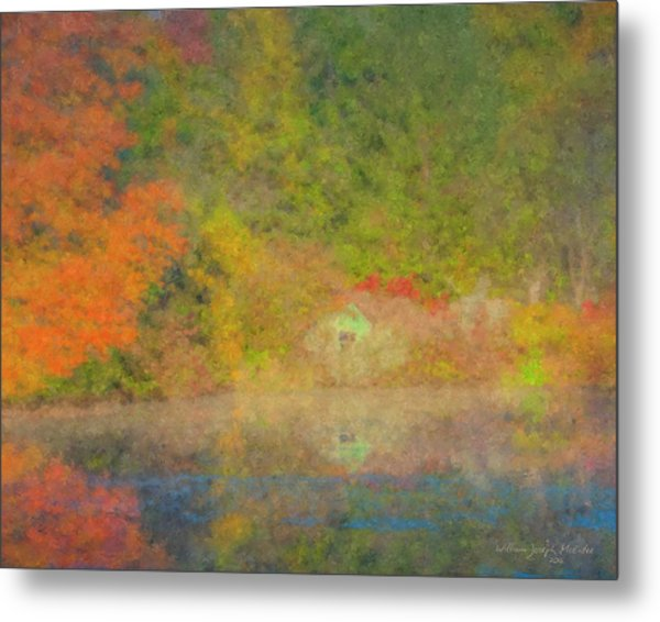Langwater Pond Boathouse October 2015 Metal Print