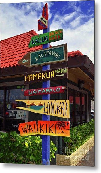 Lanikai Kailua Waikiki Beach Signs Metal Print