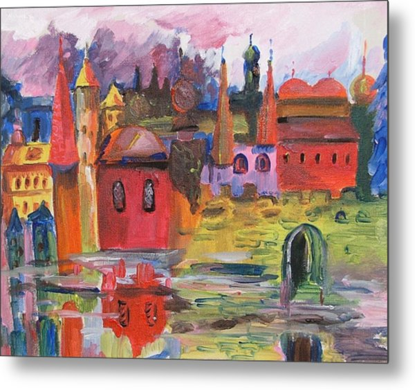 Lanscape With Red Houses Metal Print